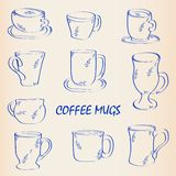 Hand Drawn Coffee Mugs Icon Set Stock Photography