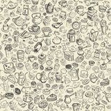 Hand drawn coffee pattern Stock Photos