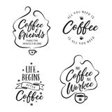 Hand drawn coffee related quotes set. Vector vintage illustration. Hand drawn coffee related popular quotes set. Handwritten lettering design elements for cafe Stock Photos