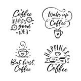 Hand drawn coffee related quotes set. Vector vintage illustration. Hand drawn coffee related popular quotes set. But first coffee. Handwritten lettering design Royalty Free Stock Images