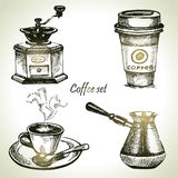 Hand drawn coffee set Royalty Free Stock Image