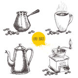 Hand drawn coffee set with coffee beans. Stock Photography