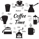 Hand drawn coffee set. Coffee time. Vector illustration. Hand drawn coffee set. Silhouettes of coffee elements Stock Photos