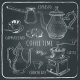 Hand drawn coffee set. Isolated on black chalkboard background. vector illustration Royalty Free Stock Photography
