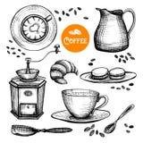 Hand Drawn Coffee Set Stock Photos