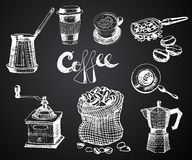 Hand Drawn Coffee Set. Vector Graphic illustration. design Elements for menu, Restauranr, Store, Coffee Shop. Royalty Free Stock Images