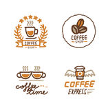 Hand drawn coffee shop logo set Stock Photo