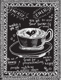 Hand drawn coffee sketch on a black chalkboard. Background royalty free illustration
