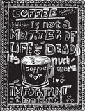 Hand drawn coffee sketch on a black chalkboard. Background Royalty Free Stock Image