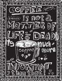 Hand drawn coffee sketch on a black chalkboard. Background stock illustration