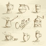 Hand drawn coffee sketch Royalty Free Stock Image