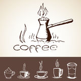 Hand Drawn Coffee Sketches Royalty Free Stock Images