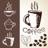 Hand Drawn Coffee Sketches Royalty Free Stock Photography