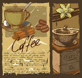 Hand drawn coffee Stock Images