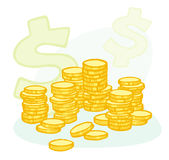 Hand-drawn coin stacks and money symbols. Illustration of stacked coins and a dollar symbol Stock Images