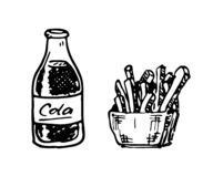 Hand drawn cola and French fries doodle. Sketch food and drink, royalty free illustration