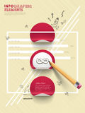 Hand drawn collage style infographic with pen and stickers Stock Photos
