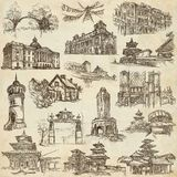 Architecture around the World - An hand drawn pack. Freehand col Stock Images