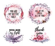 Hand drawn collection of artistic love, wedding, Valentine congratulation designs. With text message, watercolor elements, flowers, frames, wreath, paint drops Royalty Free Stock Photo