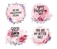 Hand drawn collection of artistic love, wedding, Valentine congratulation designs. With text message, watercolor elements, flowers, frames, wreath, paint drops Stock Photography