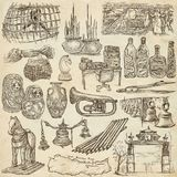 Bric a brac, objects - an hand drawn pack. Freehand sketching, f. An hand drawn collection. Bric a brac, OBJECTS. Pack on old paper. Full sized hand drawings Stock Photo