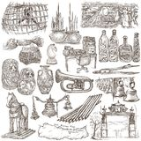 Bric a brac, objects - an hand drawn pack. Freehand sketching, f. An hand drawn collection. Bric a brac, OBJECTS. Pack on white, isolated. Full sized hand Royalty Free Stock Images
