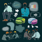 Hand drawn collection. With business objects Stock Illustration