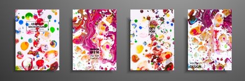 Hand drawn collection of card made by acrylic homemade texture. Liquid colorful texture. Fluid art. Abstract painting. Templates. Design for banner, poster stock illustration