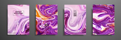 Hand drawn collection of card made by acrylic homemade texture. Liquid colorful texture. Fluid art. Abstract painting. Templates. Design for banner, poster vector illustration