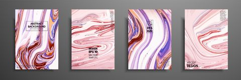 Hand drawn collection of card made by acrylic homemade texture. Liquid colorful texture. Fluid art. Abstract painting templates. D. Esign for banner, poster stock illustration