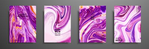Hand drawn collection of card made by acrylic homemade texture. Liquid colorful texture. Fluid art. Abstract painting templates. D. Esign for banner, poster royalty free illustration
