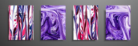 Hand drawn collection of card made by acrylic homemade texture. Liquid colorful texture. Fluid art. Abstract painting templates. D. Esign for banner, poster vector illustration