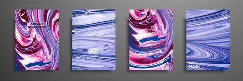 Hand drawn collection of card made by acrylic homemade texture. Liquid colorful texture. Fluid art. Abstract painting vector illustration