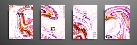 Hand drawn collection of card made by acrylic homemade texture. Liquid colorful texture. Fluid art. Abstract painting. Templates. Design for banner, poster royalty free illustration