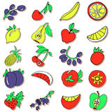 Hand drawn collection of cartoon colorful fruits Stock Image