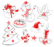 Hand drawn collection of Christmas objects Royalty Free Stock Image