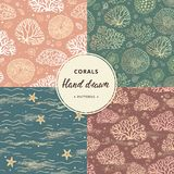 A hand-drawn collection of coral and sea seamless patterns with additional elements in various colors. vector illustration