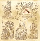 Hand drawn collection with gothic castles and victorian frame Royalty Free Stock Photos