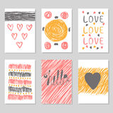 Hand drawn collection of journaling cards with romantic textures Royalty Free Stock Photo