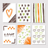 Hand drawn collection of journaling cards with romantic textures Stock Photography