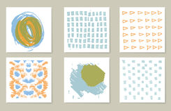 Hand-drawn collection of 6 journaling cards Royalty Free Stock Photo