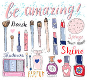 Hand drawn collection of make up, cosmetics and beauty items set, with hairbrushes Stock Photography