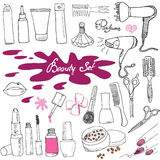 Hand drawn collection of make up, cosmetics and beauty items set, with hairbrushes, dryers, lipstick and nails  illustration isola Stock Image