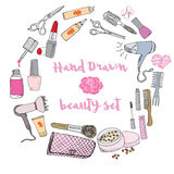Hand drawn collection of make up, cosmetics and beauty items set, with hairbrushes, dryers, lipstick and nails  illustration isola Stock Photo