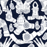 Hand drawn collection with mudras on two hands on textured background Stock Photos