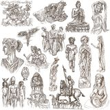 Native and old art - hand drawn collection on white, isolated Royalty Free Stock Image