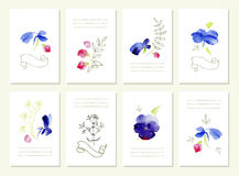 Hand drawn collection of romantic floral invitations. Wedding, birthday, Valentine s day. . Stock Photo