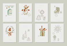 Hand drawn collection of romantic invitations to Royalty Free Stock Images