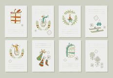Hand drawn collection of romantic invitations to Royalty Free Stock Photos