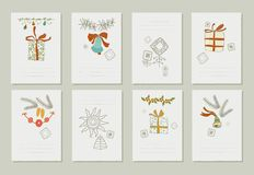 Hand drawn collection of romantic invitations to Christmas and New Year. 8 gentle cards. Isolated. No transparency. No gradients stock illustration